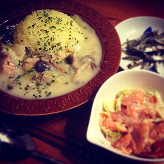 『あさり、秋鮭、きのこ3種、たっぷり白菜のクリームシチューとサフラン&ガーリックのごはん』 『柿とスモークサーモンとモッツァレラチーズのサラダ』 『煮干のオリーブオイル&すし酢漬け』 - 65件のもぐもぐ - 11/16晩ごはん『あさり、秋鮭、きのこ3種、たっぷり白菜のクリームシチュー』 by kenjikino