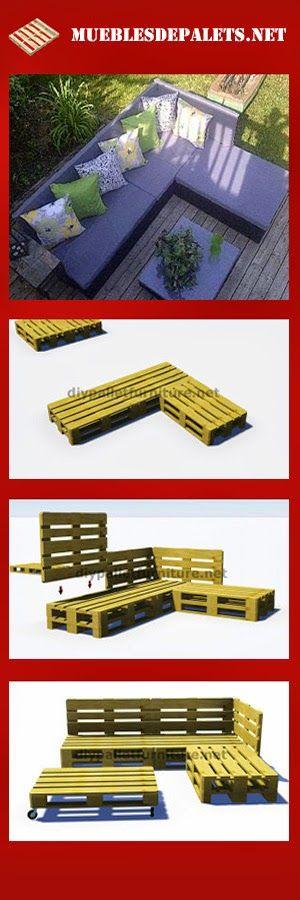 Mueblesdepalets.net: Instrucciones y planos en 3D de como hacer un sofá para el jardín con palets
