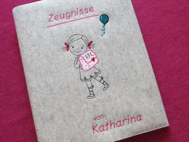 Hefthülle für die Zeugnismappe aus Filz / felt cover for certificate file made by 1000und2Naehte via DaWanda.com