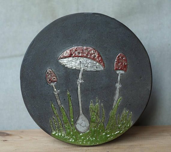 Ceramic picture Mushrooms raku red black