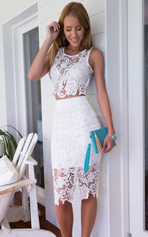 Vestido de Noche nuevo Para mujeres de Verano Boho Maxi Encaje Crop Tops Falda Lápiz Fiesta Playa | eBay