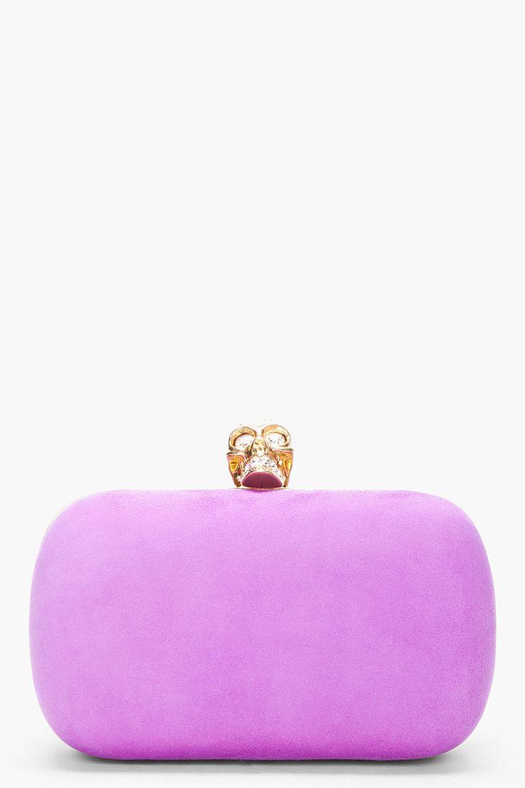 Alexander Mcqueen Purple Suede Skull Box Clutch