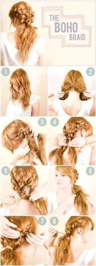 Boho braid.  Two french braid piggy tails pulled together.  Totally doable.