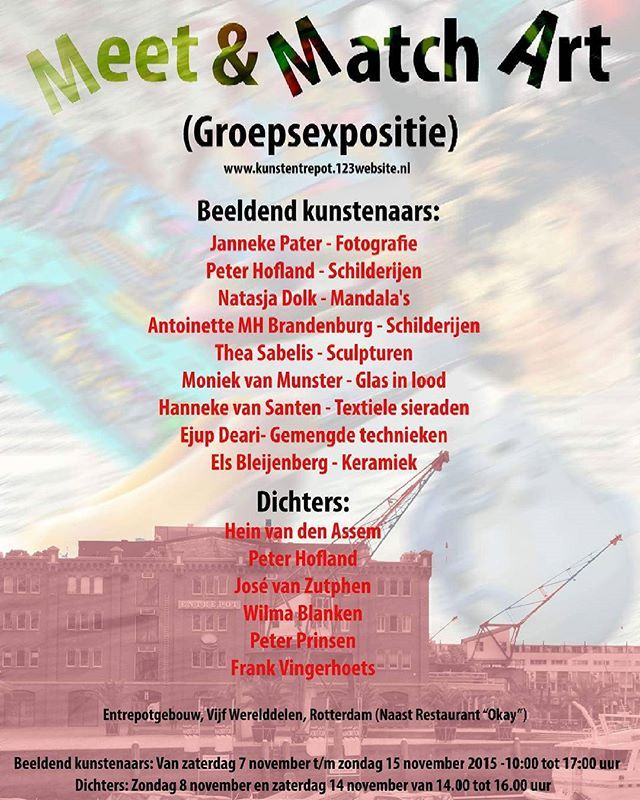 This is our poster for the group exhibition Meet & Match ART which I organize with other artists at the Entrepot building near café Okay in Rotterdam during the artweek at 7 - 15 november #Meet&MatchART #exhibition #art #artists #artexhibition #artexposition #kunstexpositie #poster #entrepot  #entrepotRotterdam #rotterdam #popup #popupexhibition #popupexpositie #popupexpo #okay #artoftheday #november #artweek #kunstweek #instadaily #instagram