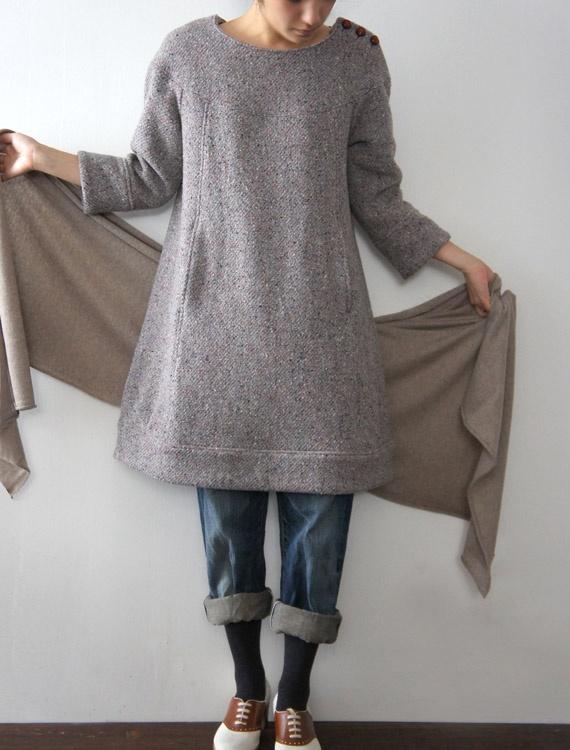 wool dress and denim