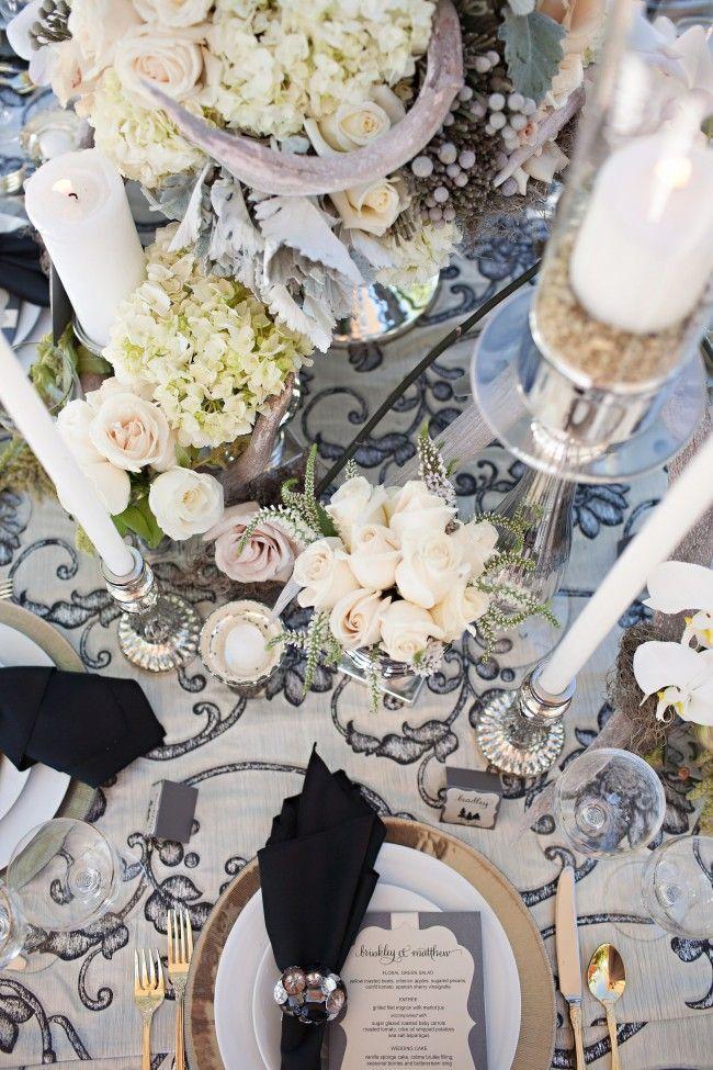 Ashley Gain Weddings:: Restoration Antler Sparkle Inspired Photo Shoot Winter Wedding Flowers Silver White Black Gold Linens Candles Cream Roses Blush Roses Paper Details