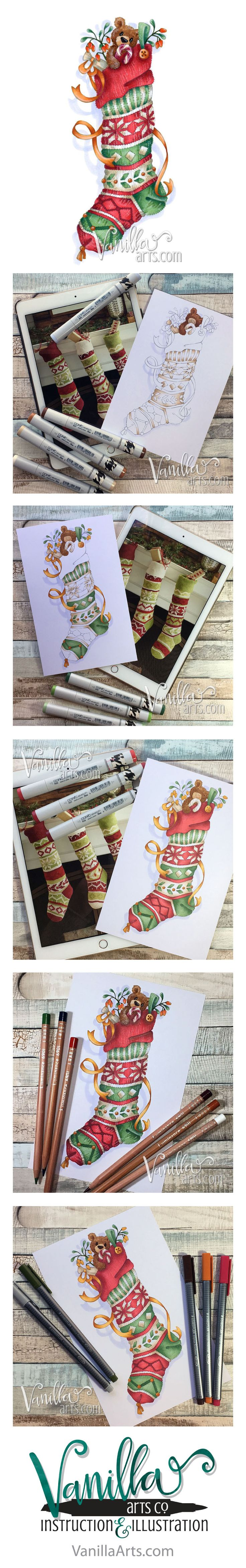 Fair Isle Stocking- a challenge level Copic Marker & colored pencil class | VanillaArts.com
