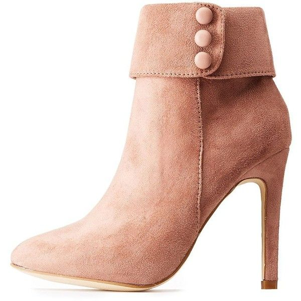 Hot Kiss Faux Suede Stiletto Booties ($34) ❤ liked on Polyvore featuring shoes, boots, ankle booties, blush, round toe ankle booties, high ankle boots, sexy stilettos, round toe booties and stiletto heel boots