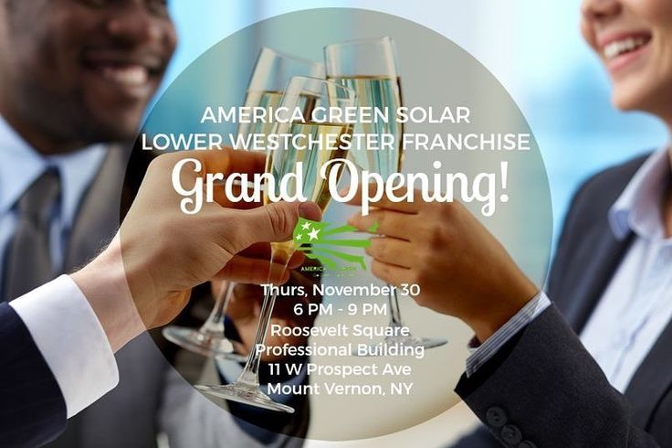 America Green Solar is proud to join the Westchester community! YOU are invited to our Grand Opening Celebration from 6  9 PM on Thursday November 30 at the Roosevelt Square Professional Building! Celebrate with food refreshments music and a promised great time! Our host Mount Vernons own DESI JOHNSON (as seen on Broadways historic Carolines Comedy Club) will be leading us in this night of celebration and community! Check out the link in the bio for your FREE tickets!
