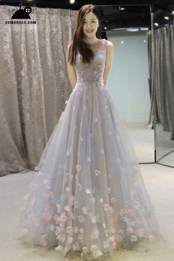 2054dd57c4ae81 Fairy Flowers Petals Empire Flowy Long Wedding Dress Prom Dress ...