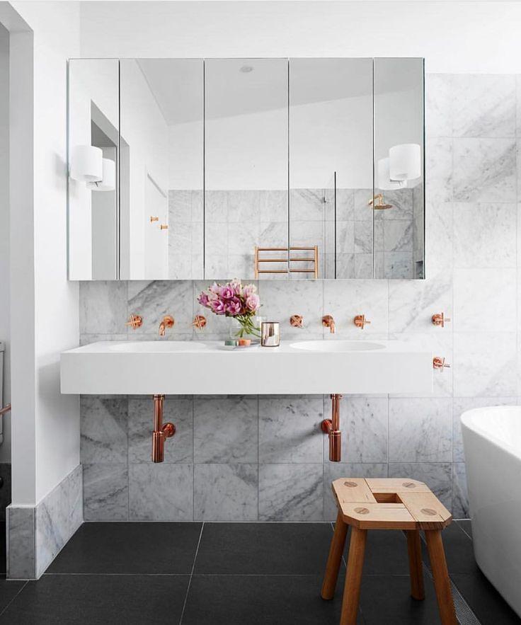 "887 Likes, 16 Comments - Dot➕Pop Interiors - Eve Gunson (@dotandpop) on Instagram: ""Oooohhhh la la... copper and marble bathroom love! Beauty by @hortonandcodesign via…"""