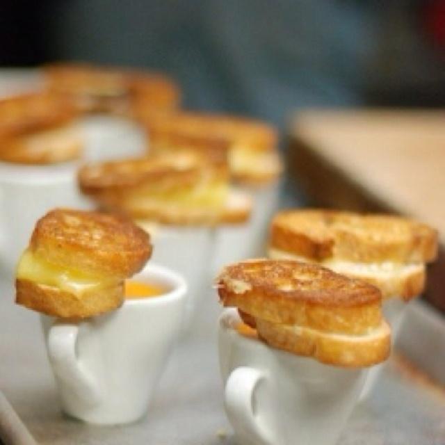 Mini grilled cheese w/ tomato soup shot