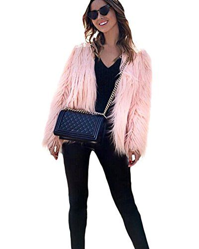 a89064293fc Anself Womens Solid Color Long Sleeve Shaggy Faux Fur Short Coat Jacket --  Details can