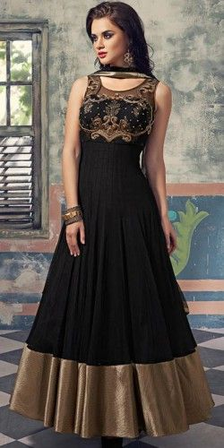 Alluring Black And Beige Georgette Anarkali Suit.