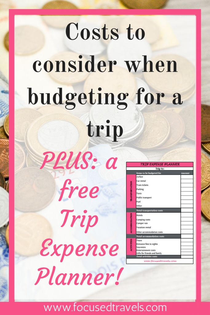 Focused Travels' Trip expense planner: costs to consider when planning a trip