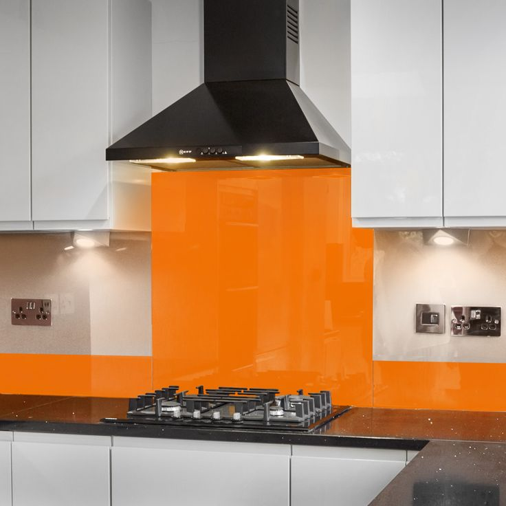Pure Orange Splashbacks , 6mm thick, back-painted glass splashback with polished edges made to measure