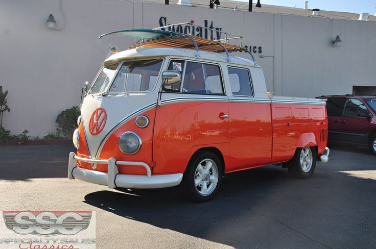 1963 Volkswagen Transporter For Sale in Redwood City, California | Orange Double Cab VW Bus ☮ pinned by https://www.soundroyalties.com/
