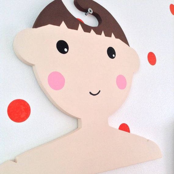Childrens Clothes Hanger with Brown Hair...Childrens by Daisymooo