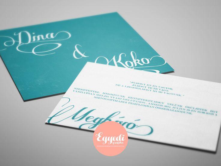 Egyszerű türkiz-fehér szitanyomásos esküvői meghívó | Sample but gorgeous turquoise-white wedding invitation