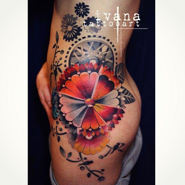 Tattoo Ideas On Hip: Mechanical Flower Hip Tattoo