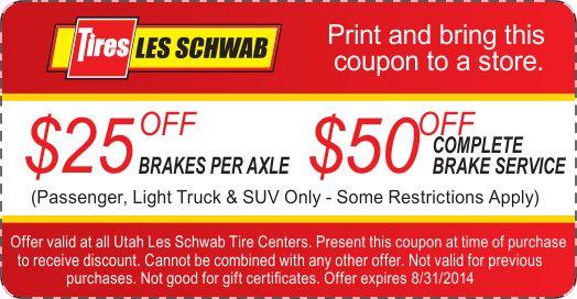 Pep Boys Brake Coupons >> Les Schwab $25 OFF brakes per axle or $50 OFF complete brake service coupon August 2014 | Brake ...