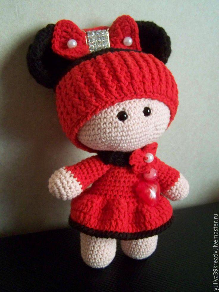 Купить Пупсик в костюме Минни-Мауса крючком - комбинированный, Пупсик, пупсик…