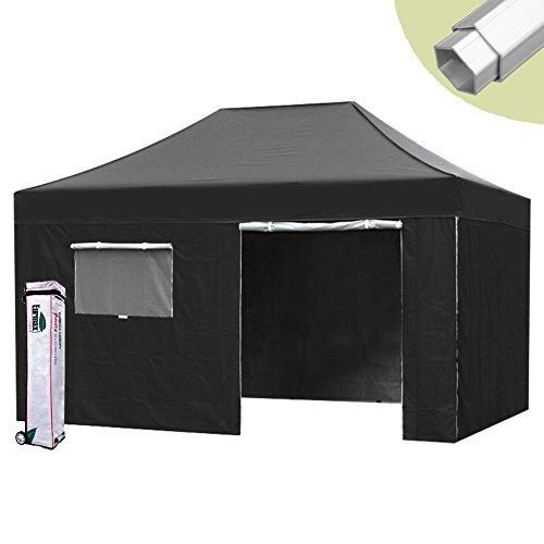 Eurmax PRO 10 X 15 Ez Pop up Canopy Tent Commercial Canopy Gazebo with Full Walls and Roller Bag, Black