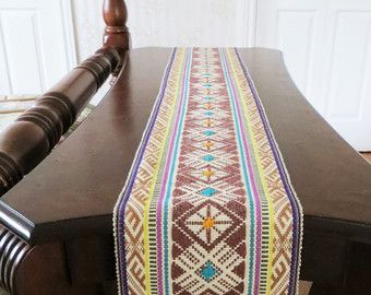 Vintage Extra Long Table Runner with Fringe Ethnic Needlepoint Bohemian Table Linen