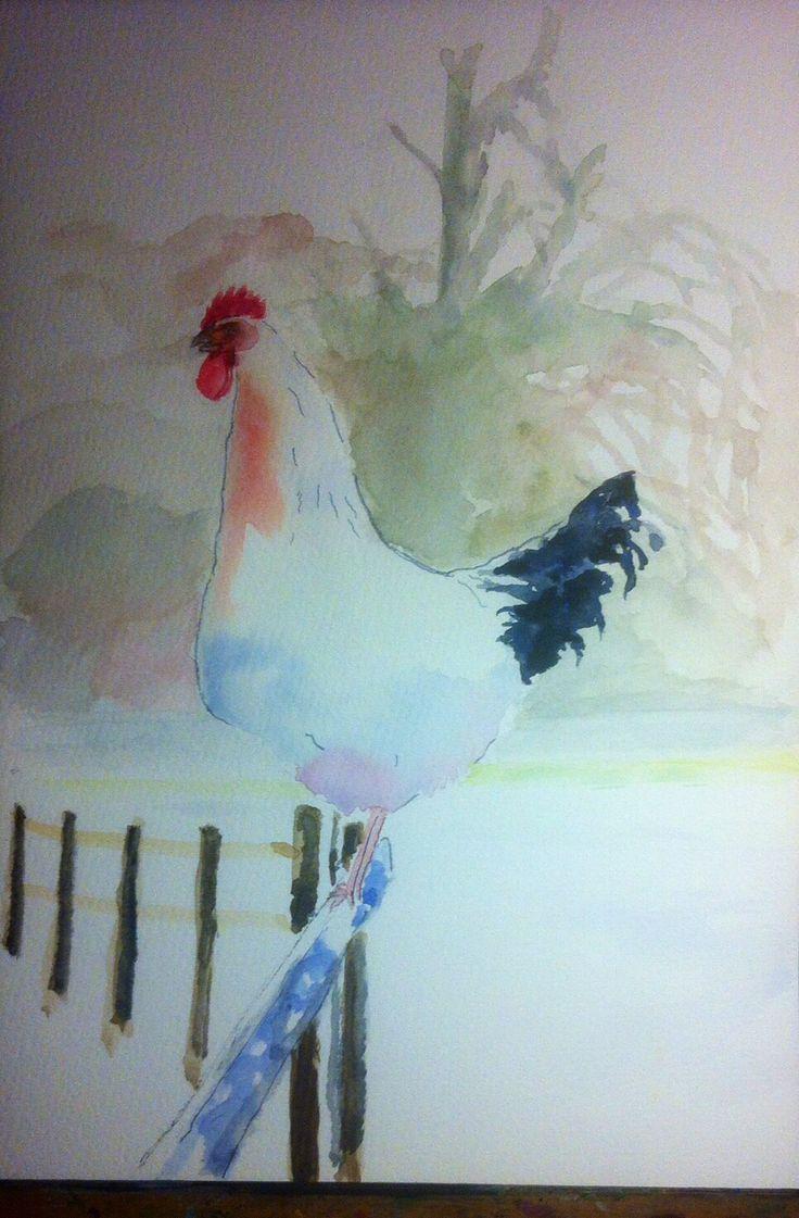 Watercolour hen