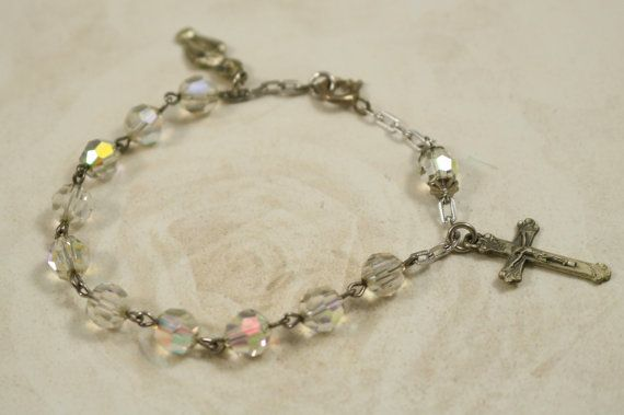 Vintage silver tone and Aurora Crystal by IRENESVINTAGEBLING
