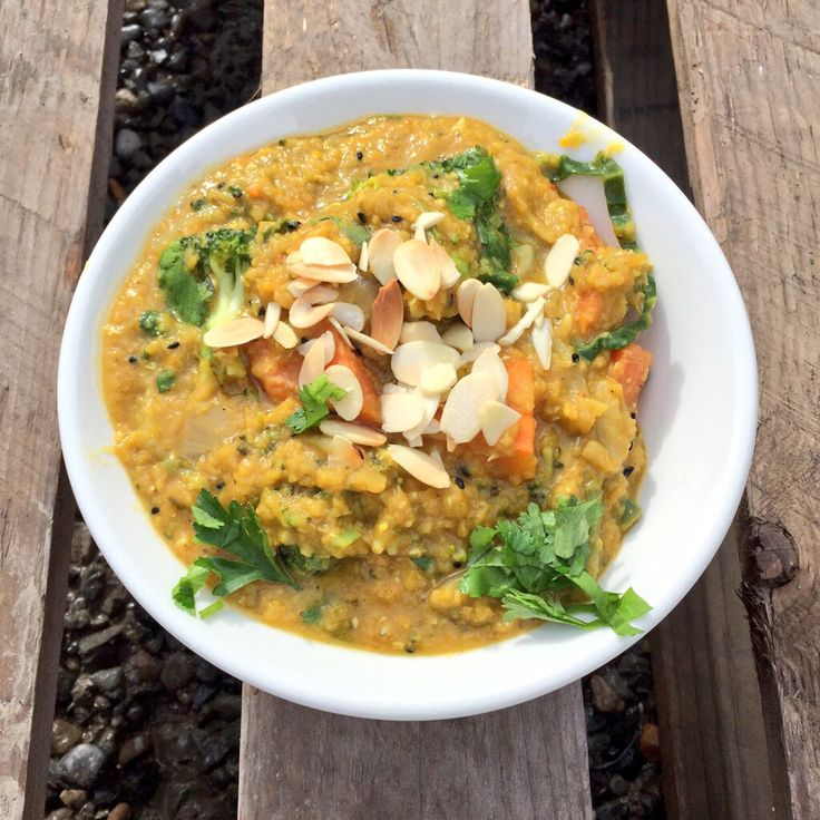 Today's Indian red lentil Dahl with pumpkin, broccoli l toasted almond and coriander
