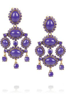 Oscar de la Renta Gold-plated cabochon clip earrings | THE OUTNET