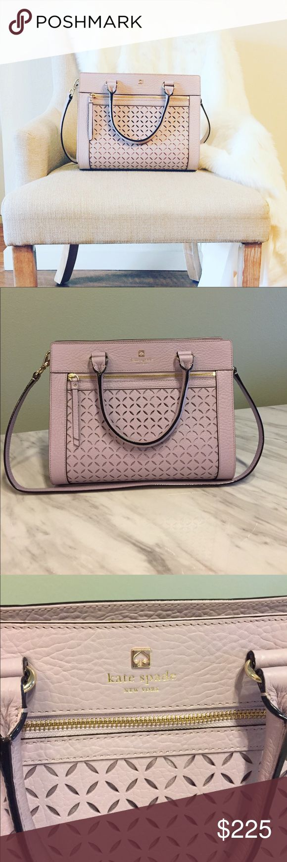 """Lavender Kate Spade Purse Lavender Kate Spade Purse, purchased at outlets so no dust bag. Only carried a few times. 9 3/4"""" tall and 12"""" wide. Does have shoulder strap and handles. No stains on interior. Smoke free home. kate spade Bags Shoulder Bags"""