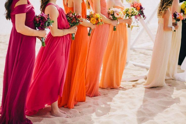 Rainbow COLOR Bridesmaid dress beach wedding