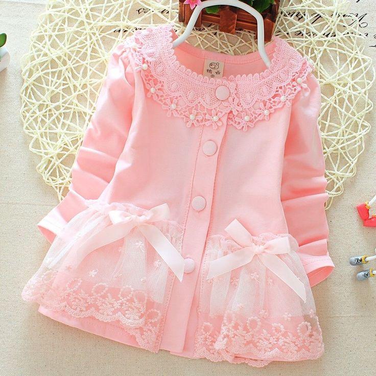 New Baby Girls Button Pink Dress Children Cotton Lace Bowtie Embroidered Dress…