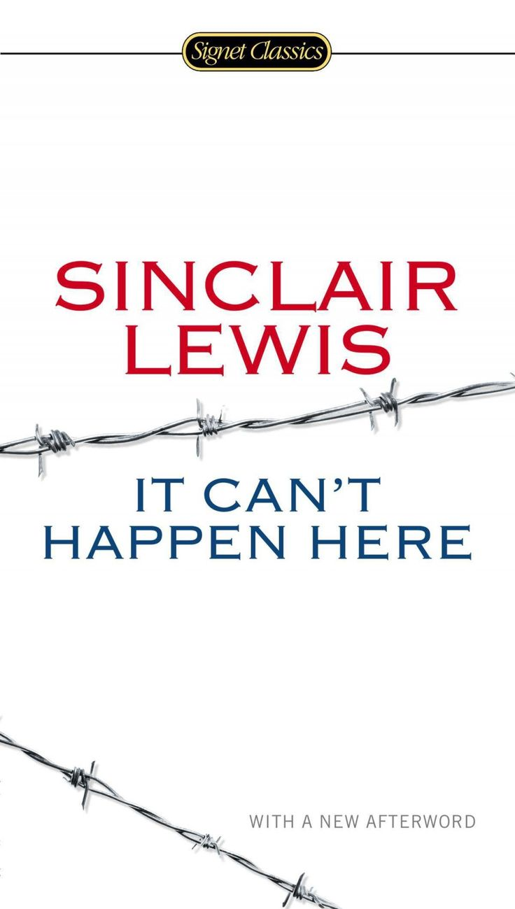 """HANDOUT IMAGE: """"It Can't Happen Here"""" by Sinclair Lewis (credit Signet Classics) ***ONE TIME USE ONLY. NOT FOR RESALE"""