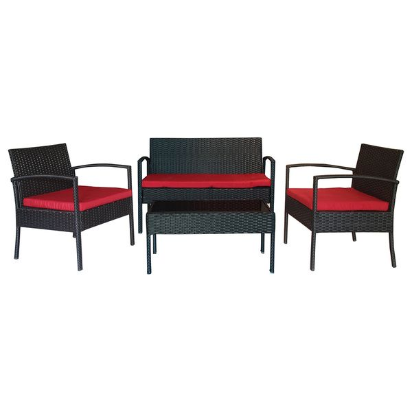 The Hom Teaset 4 Piece Patio Conversation Set With Red