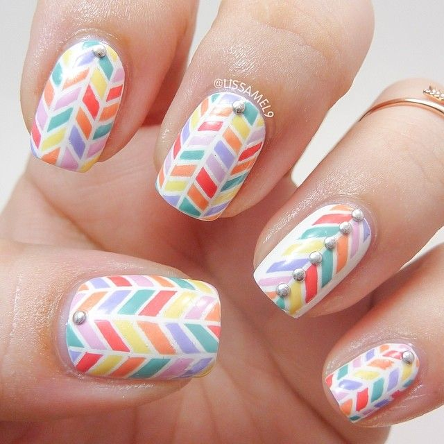 Nail Art Using Striping Tape: Mani By Lissamel9. Not The Easiest Thing To Do With