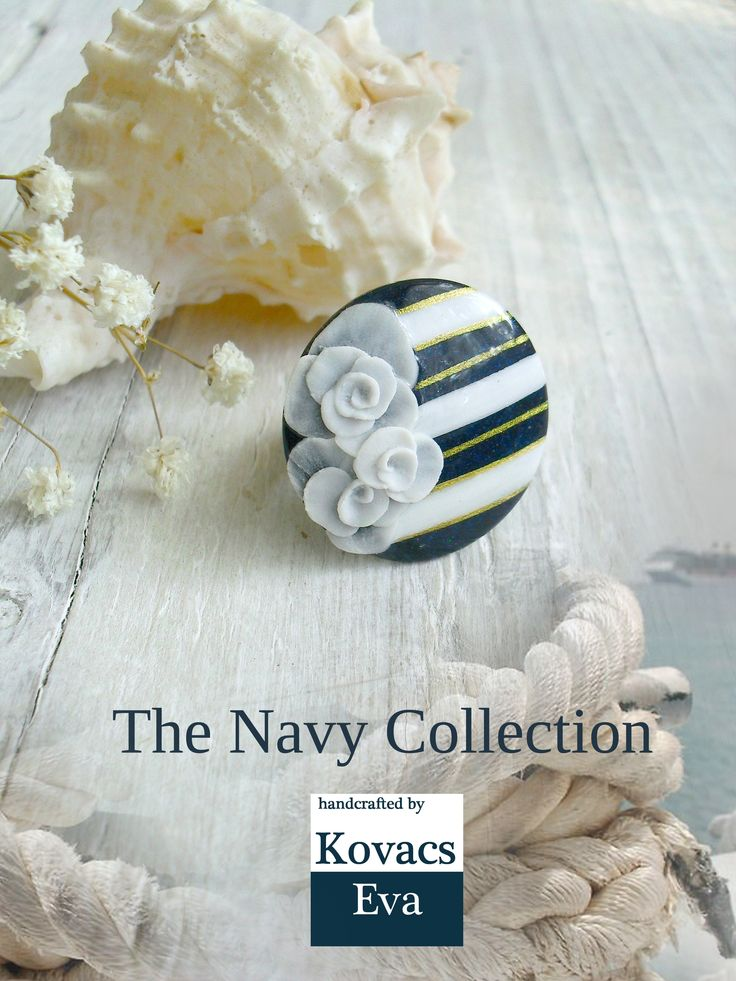 Navy ring.Navy statement ring.White blue ring.Sailor ring.Navy jewelry.Summer jewelry.