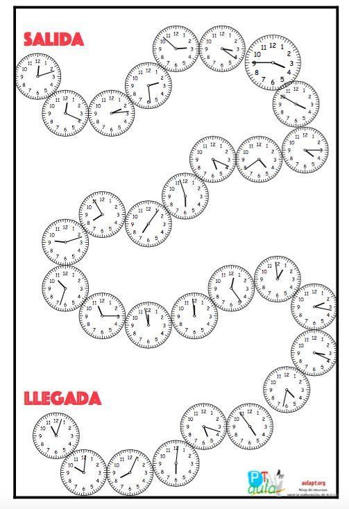 Repasa las horas con el juego matemático: ¿Qué hora es? Jugadores: 2 o más jugadores. Instrucciones: El alumno tira el dado y cuenta las casillas, cada reloj representa una casilla. El alumno tendrá que decir la hora que es, si no lo acierta retrocede tiene una penalización retrocediendo dos casillas