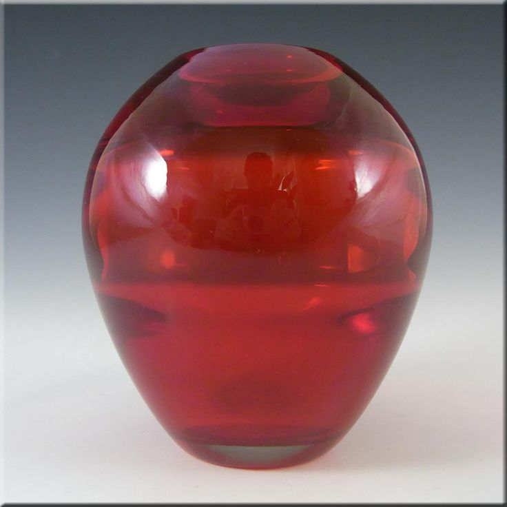 Whitefriars/Baxter Ruby Red Glass Ovoid Vase #9585 - £30.00