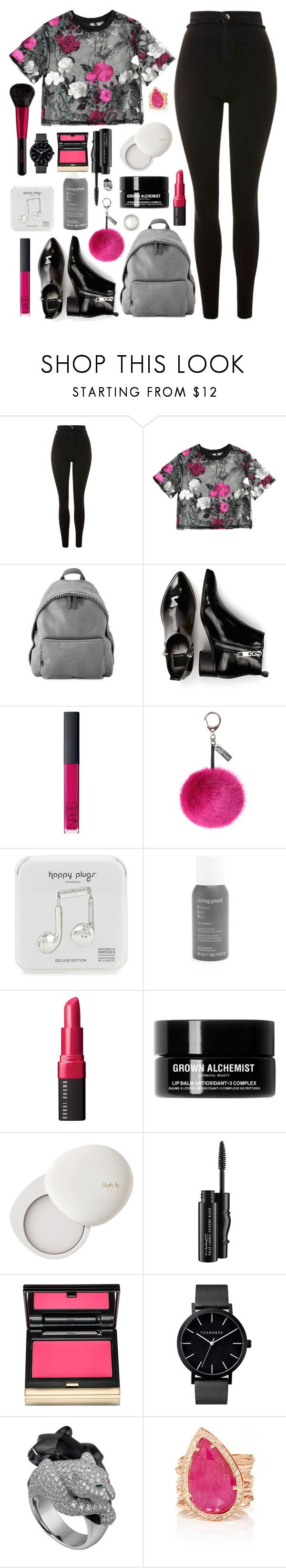 """Secateurs"" by cocochaneljr on Polyvore featuring Topshop, STELLA McCARTNEY, Dolce Vita, NARS Cosmetics, Helen Moore, Happy Plugs, Living Proof, Revlon, Bobbi Brown Cosmetics and Grown Alchemist"