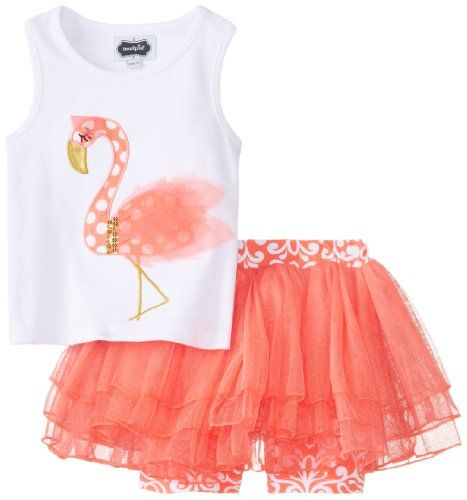 Mud Pie Little Girls' Flamingo Skirt Set, Pink, 3T - Click image twice for more info - See a larger selection of little girl skirt sets at http://girlsdressgallery.com/product-category/skirt-sets/ - girls,toddler,little girls clothing, little girls fashion, little girls dress, little girls fashion, baby, gift ideas