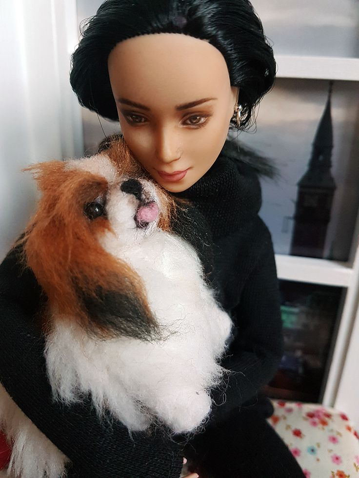 Red and white felt pup for Eve <3  the perfect cuddle companion  #BarbieDollCompanion #PlayscalePet #BarbieDollPet #FeltDog #BarbieDollDog  #FeltPlayscalePet #OOAKBarbie #CustomBarbie