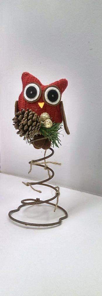 Tree Topper Rustic Christmas Bed Spring Red Owl by FunkyJunktique