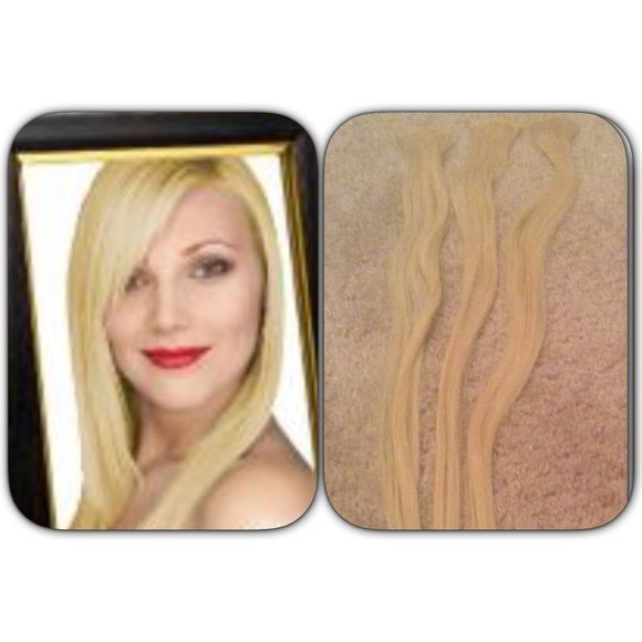 3 piece human hair extensions💟 Lightest blonde.3 pieces one inch clips to dye add a streak pf color or to match ypur blonde hair and wear At sides.brand new never  used, perfect.❌FIRM UNLESS BUNDLED, NO TRADES❌ Pro extensions Other