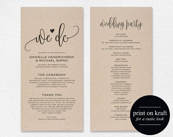 Wedding Program Template Printable We Do Ceremony Pdf Instant Kraft Diy