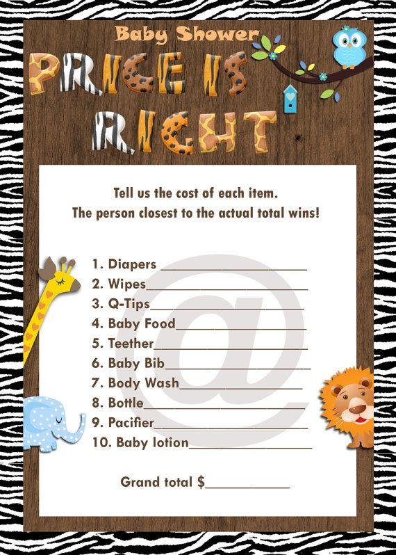 Safari Theme Baby Shower Games