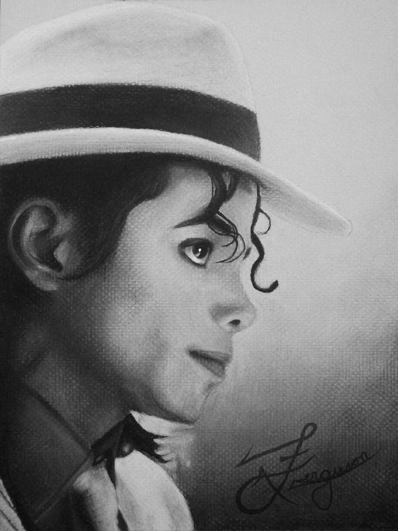 Michael Jackson Portrait – 9 x 12 Bild als Leinwandkopie – fertig zum Aufhängen – MJ, BAD, Smooth Criminal, Charcoal, Promi-Porträt, realistisch