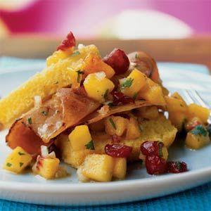 Corn Bread Shortcake with Ham and Fresh Peach Salsa | MyRecipes.com